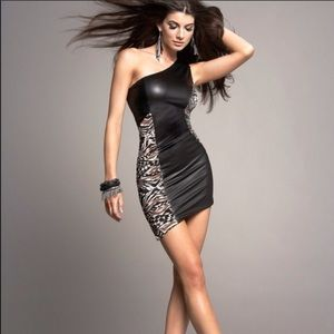 Kardashians BEBE faux leather club dress Size XS